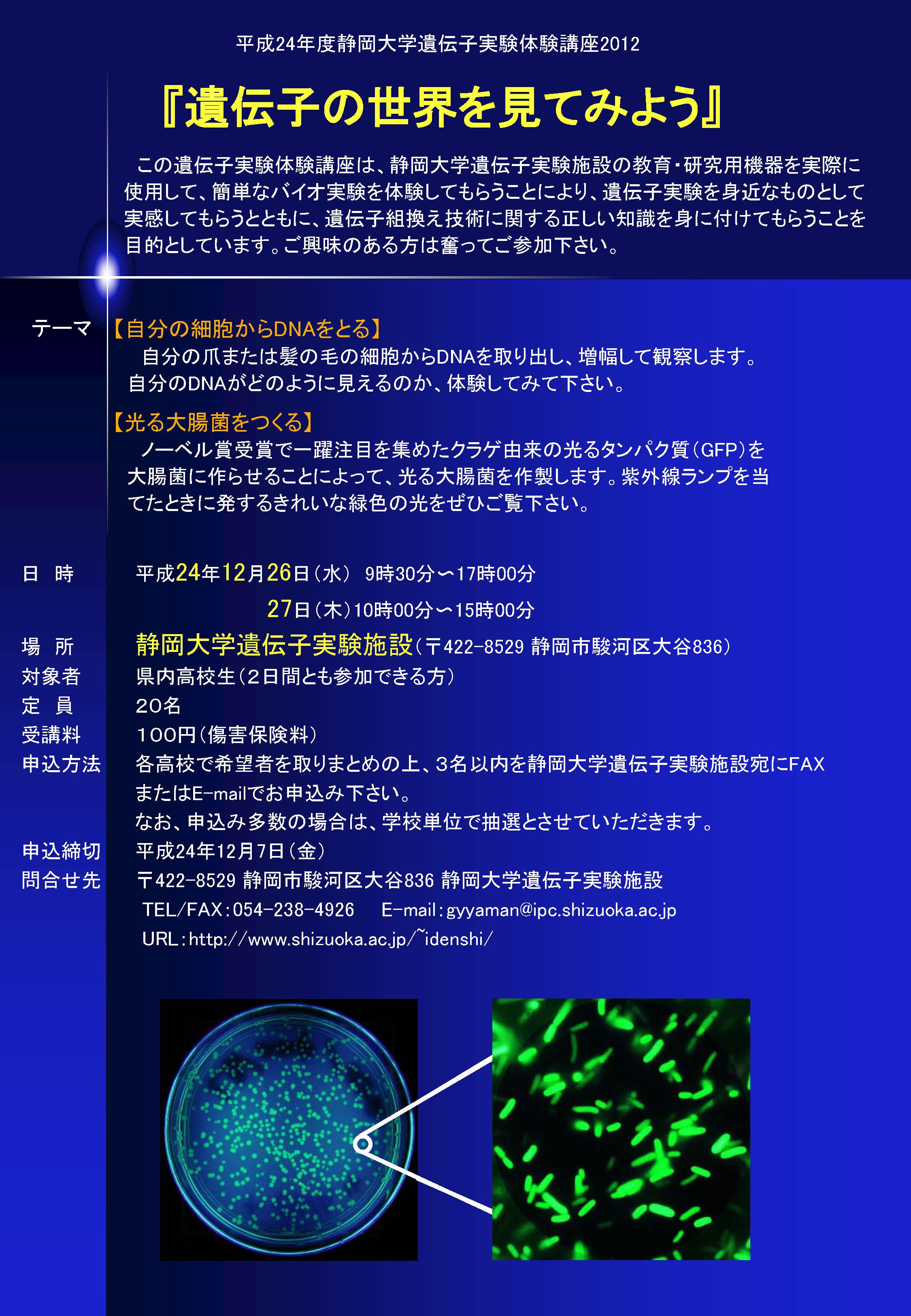 遺伝子実験体験講座2012「遺伝子の世界を見てみよう」チラシ